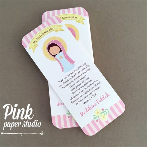 First Communion Favor Cards • Bookmark • Baptism Girl ...