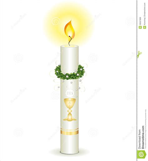 first holy communion candle card vector illustration ...