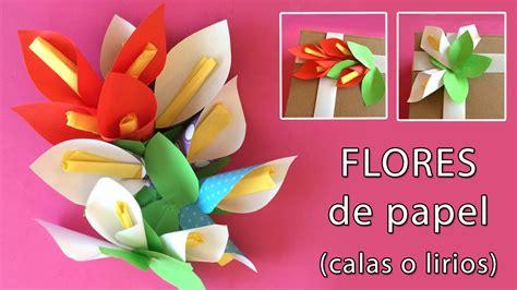 Flores de papel: Lirios o calas para adornar regalos   YouTube