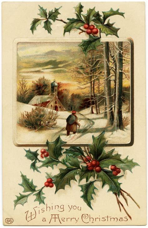 Free Vintage Image ~ Merry Christmas Postcard | Old Design ...