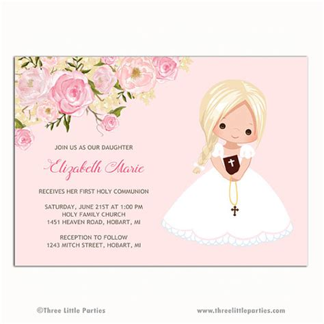 Girl First Communion Invitation Invitacion Primera Comunión
