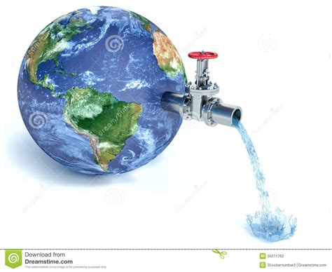 Globo Da Terra Com água Deixando Cair De Torneira De água ...