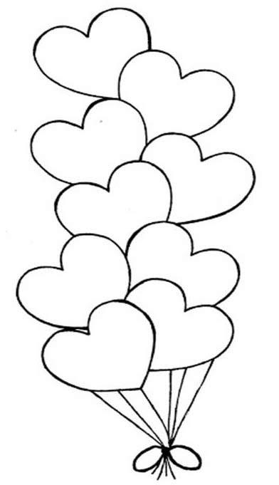 Globos en forma de Corazón   Colorear San Valentín ...