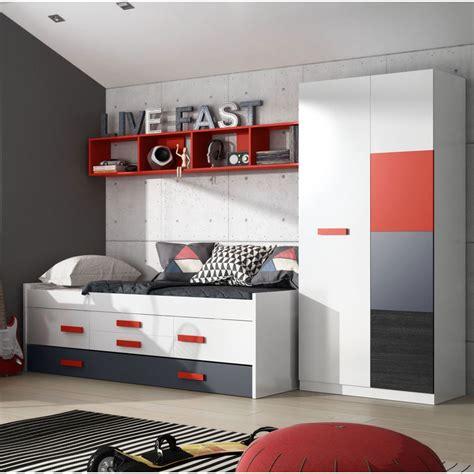 Habitaciones juveniles en color blanco y rojo