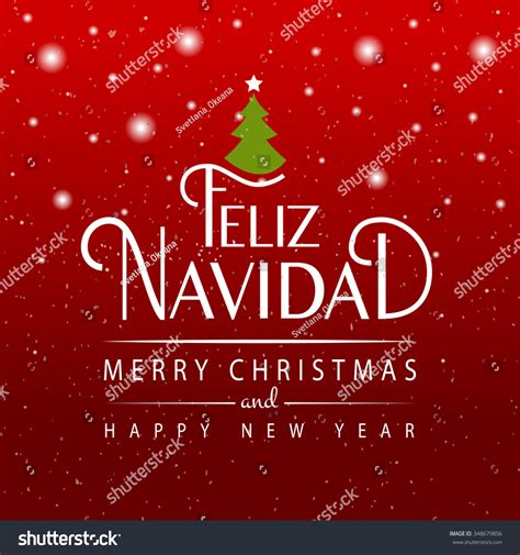 Hand Sketched Feliz Navidad Merry Christmas Stock Vector ...