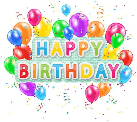 Happy Birthday Deco Text with Balloons PNG Clip Art Image ...