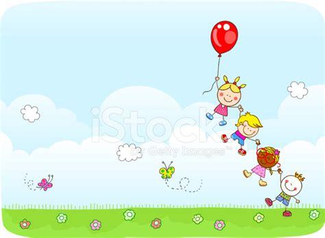 Ilustración DE Dibujos Animados DE Niños Volando Con ...