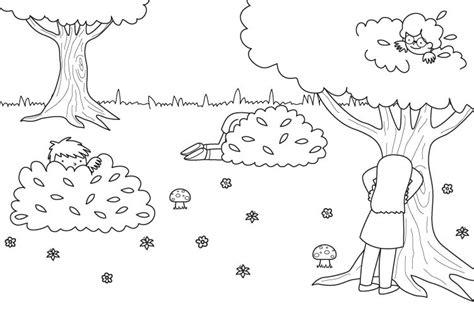 Imprimir: Juego del escondite: dibujo para colorear e imprimir