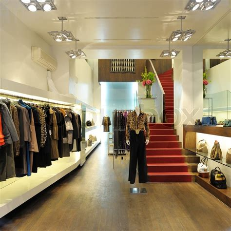 Interior of a boutique store with fashionable luxury women ...