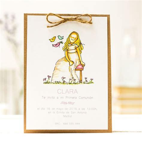 Invitaciones Comunión kraft de niña, personaliza con ...