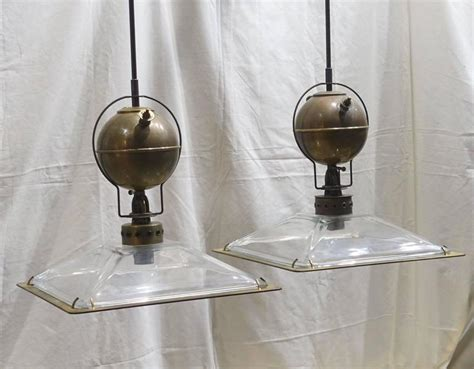 Italian Pair of Square Glass Shade Industrial Light ...