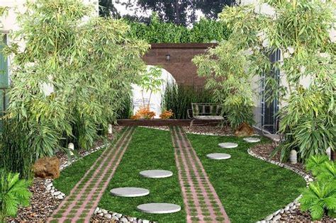 jardin creativo para frente de casa con piedra, bambu ...