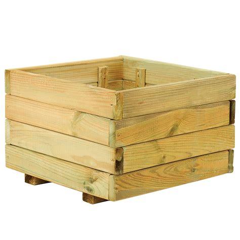 Jardinera de madera MADERA CUADRADA Ref. 14098546   Leroy ...