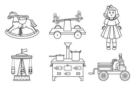 Juguetes antiguos: dibujo para colorear e imprimir