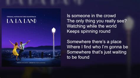 La La Land   Someone in the Crowd   Lyrics   YouTube