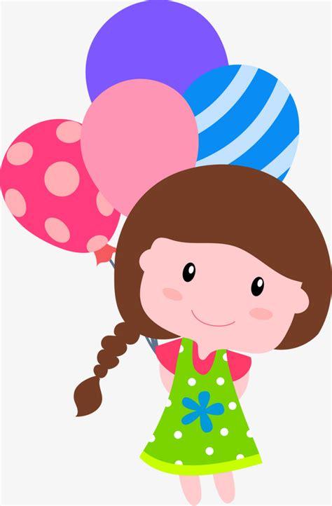 La niña de dibujos animados Vector globos de colores, La ...