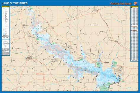 Lake O   the Pines Fishing Map, Lake