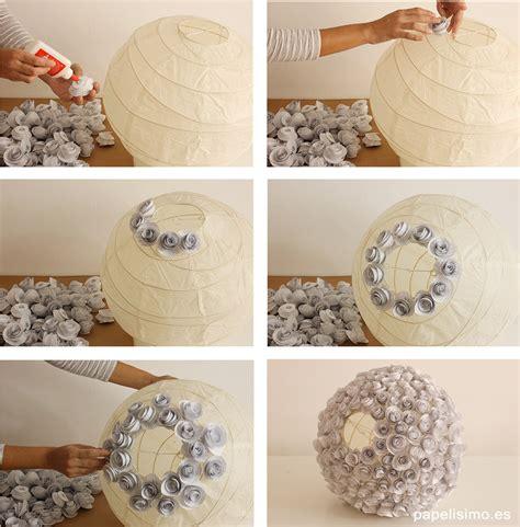 Lampara de flores de papel recicladas   PAPELISIMO