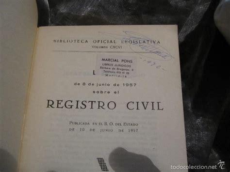 ley de 1957 sobre el registro civil publicada e   Comprar ...