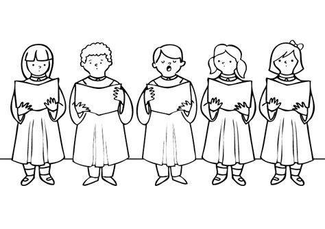 Los niños del coro: dibujo para colorear e imprimir