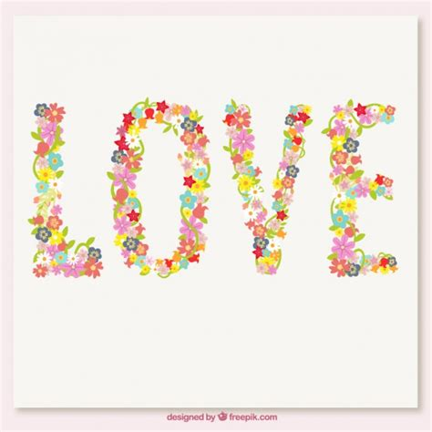 Love word made up of flowers Vector   Free Download