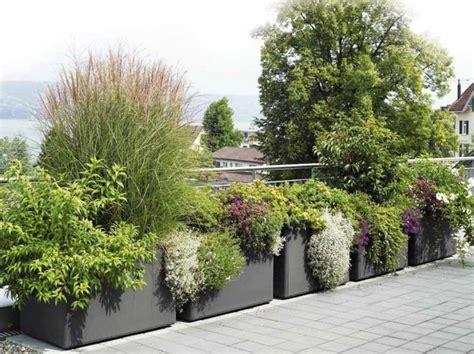 Macetas jardineras y plantas preciosas en el jardín