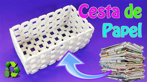 Manualidades: Cesta de papel periódico  Reciclaje ...