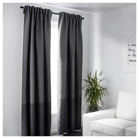 MARJUN Block out curtains, 1 pair Grey 145x250 cm   IKEA