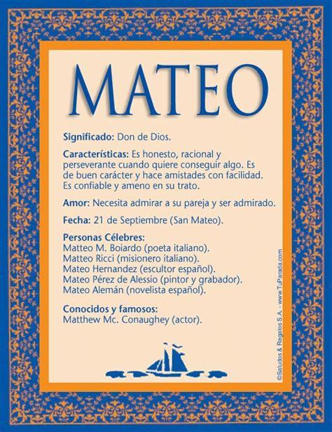 Mateo, significado del nombre Mateo, nombres