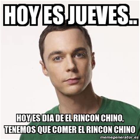 Meme Sheldon Cooper   hoy es jueves.. hoy es dia de el ...