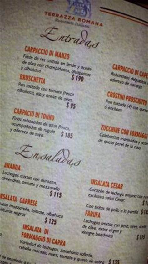 Menu   Picture of Terrazza Romana, Saltillo   TripAdvisor