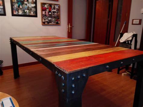 Mesa de comedor de hierro y palets   Leroy Merlin