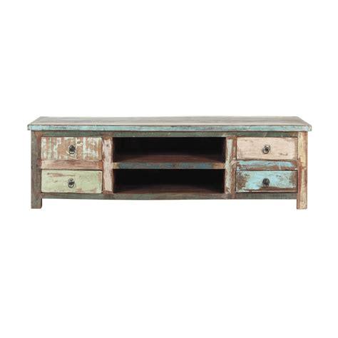 Meuble TV en bois recyclé effet vieilli L 140 cm Calanque ...