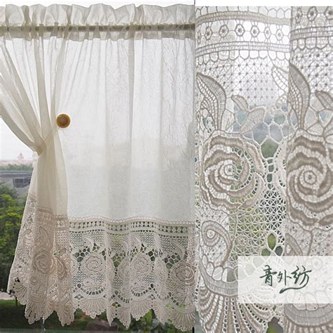 morden beige rose window curtains lace kitchen cafe ...