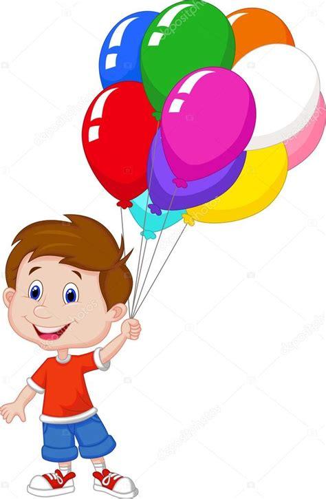 muchacho de dibujos animados con de globos — Vector de ...