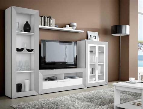Mueble de salón moderno en blanco con plata  2433 ...