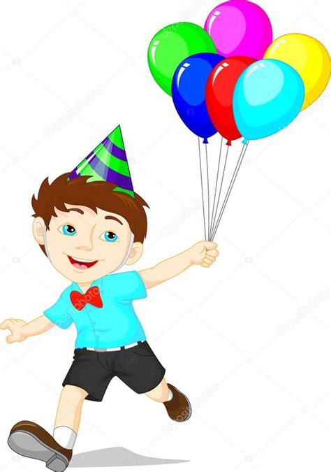 Niño de dibujos animados con manojo de globos de colores ...
