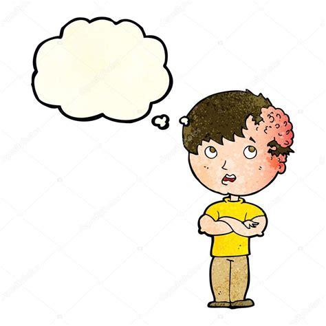 niño de dibujos animados con un crecimiento en la cabeza ...