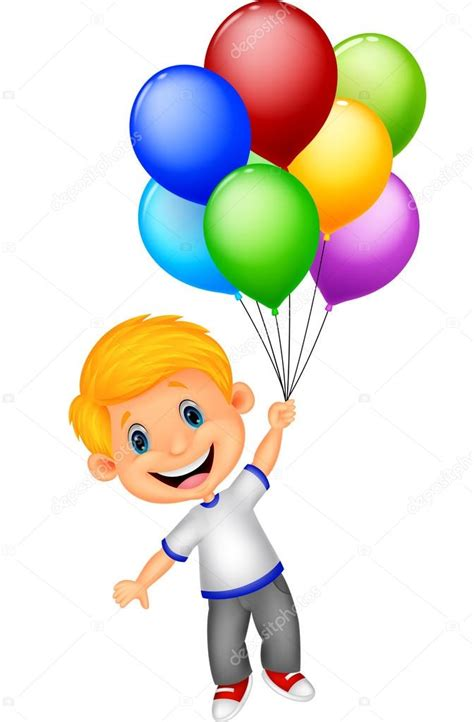 Niño volando con globos — Vector de stock © tigatelu #44727577