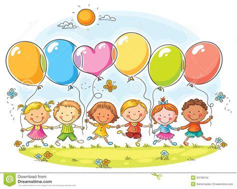 Niños Con Los Globos Ilustración del Vector   Imagen: 53138154