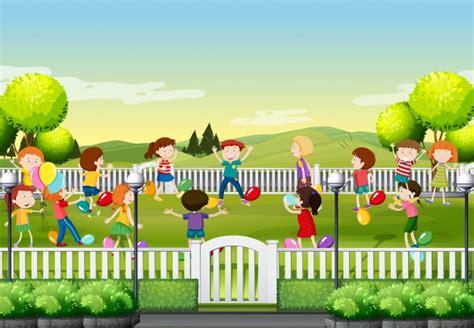 Niños jugando juego de globo en el parque ilustración ...