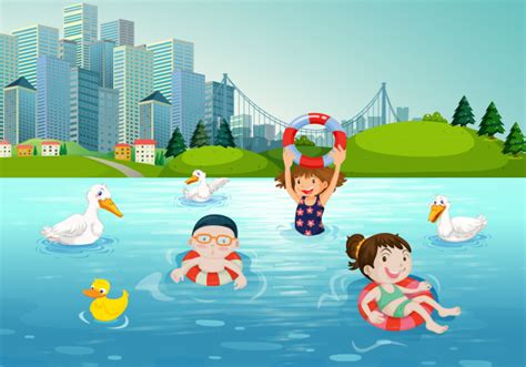 Niños nadando en el lago | Descargar Vectores Premium