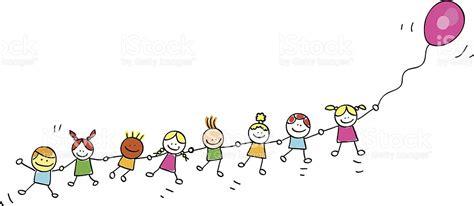 Niños Volando Con Globos Ilustración Dibujo Animado   Arte ...