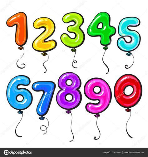 Número en forma de globos de colores brillantes y ...