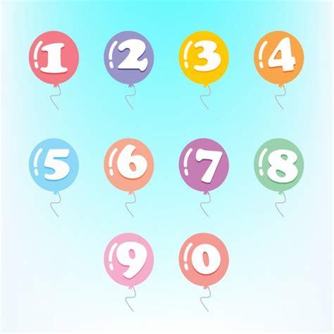 Números en globos de colores | Descargar Vectores gratis
