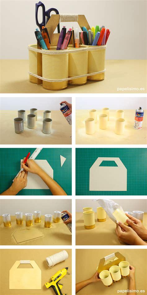 Organizador reciclado con latas y cartón   PAPELISIMO