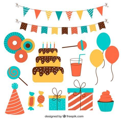 Pack plano de adornos de cumpleaños coloridos | Descargar ...