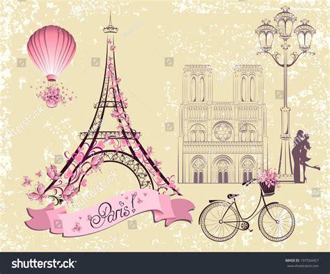 Paris Symbols Landmarks Romantic Postcard Paris Stock ...