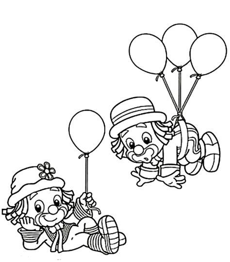 Payaso con globos para colorear e imprimir