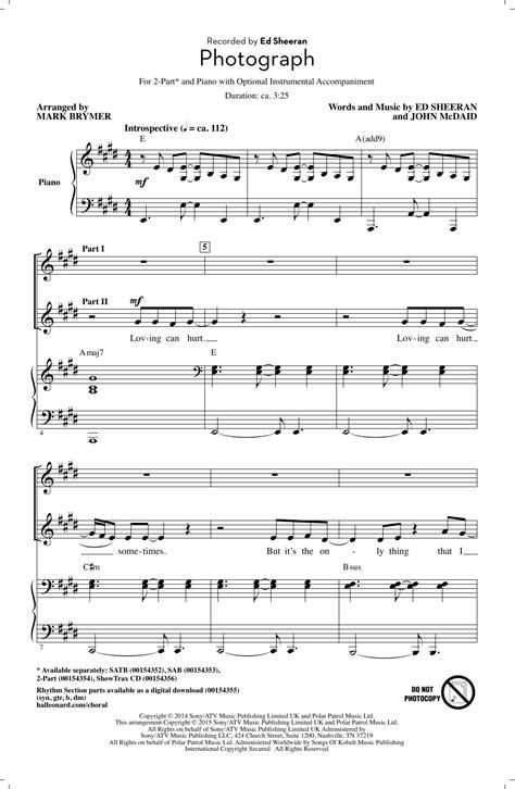 Photograph  arr. Mark Brymer  2   part choir sheet music ...